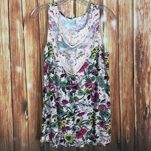 Maurices LG Pale Pink Floral Crochet Lace Tank Top